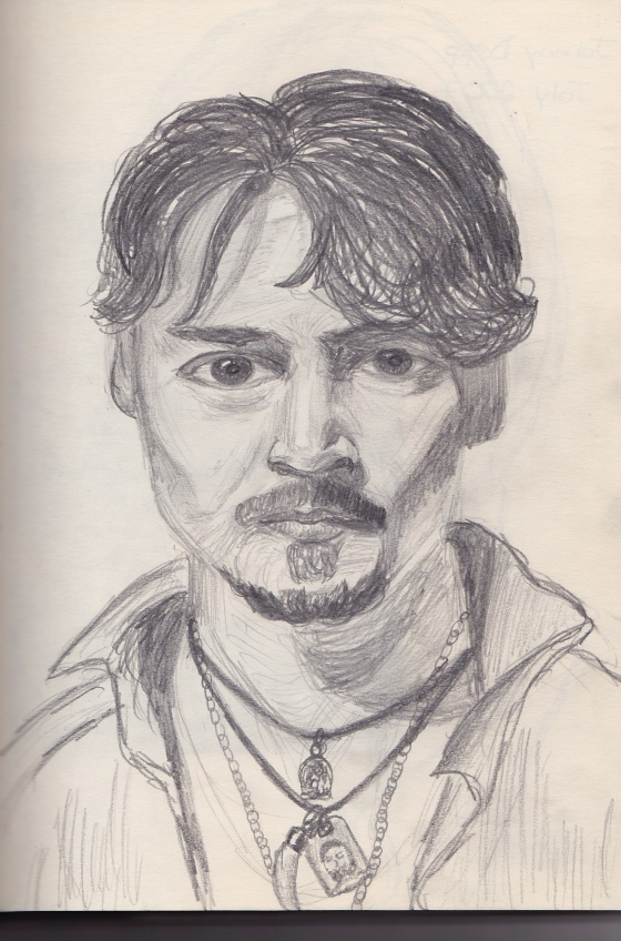 Here's a really old sketch I did of Johnny Depp - can't be that for subject material, huh?  haha.