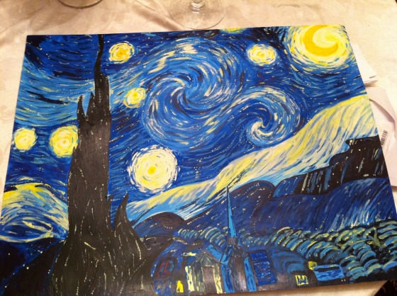 I'll have to get a better picture of this one, lol.  I painted this version of Starry Night for my boyfriend's birthday.