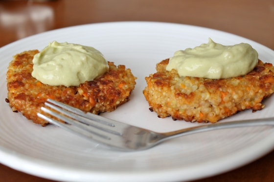 Quinoa Burgers with Creamy Avocado Sauce